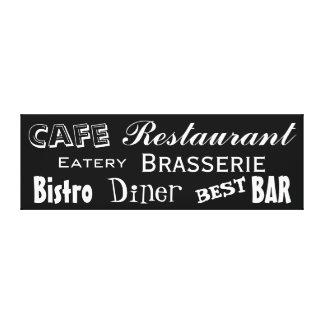 Cafe Restaurant Diner Bistro Word Custom Color 2 Stretched Canvas Print
