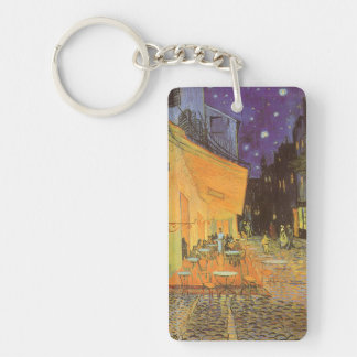Cafe Terrace at Night by Vincent van Gogh Double-Sided Rectangular Acrylic Key Ring