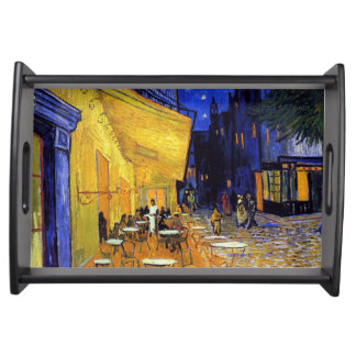 Cafe Terrace at Night by Vincent van Gogh Serving Tray