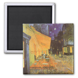 Cafe Terrace at Night by Vincent van Gogh Square Magnet