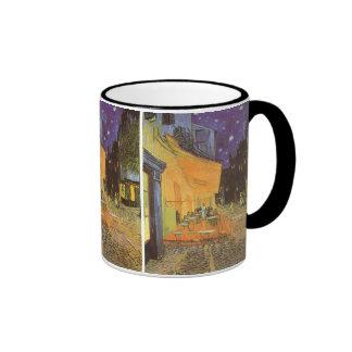Cafe Terrace Night, van Gogh Vintage Impressionism Ringer Mug