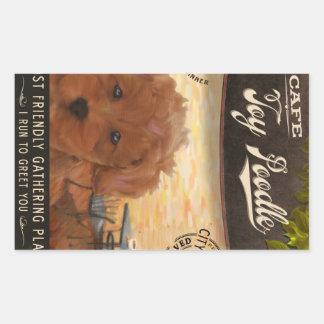 Cafe Toy Poodle Rectangular Sticker