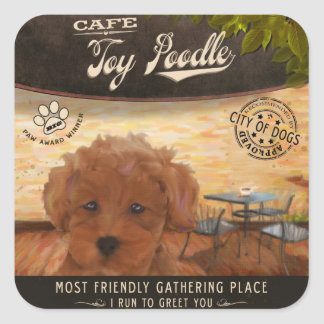 Cafe Toy Poodle Stickers