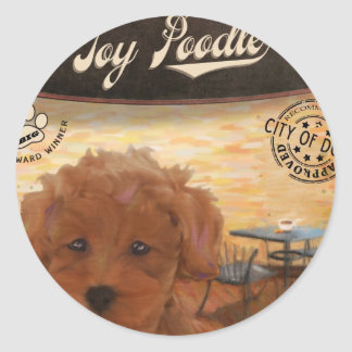 Cafe Toy Poodle Round Sticker