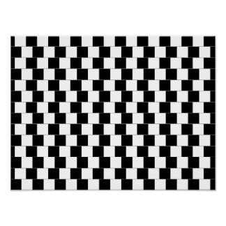 Cafe Wall Optical Illusion Horizontal Lines Poster