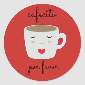 """Cafecito"" Spanish Sticker with Coffee Cup"