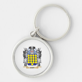 Caff Coat of Arms - Family Crest Silver-Colored Round Key Ring