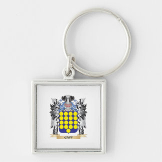 Caff Coat of Arms - Family Crest Silver-Colored Square Key Ring