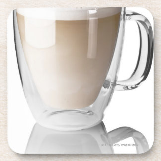 Caffe latte, on white background, cut out beverage coaster