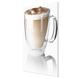 Caffe latte, on white background, cut out canvas print