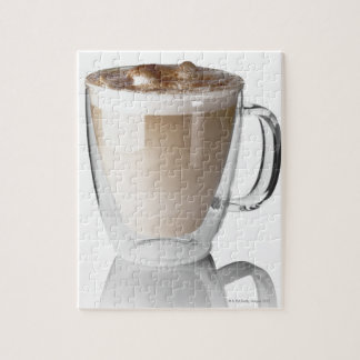 Caffe latte, on white background, cut out jigsaw puzzle