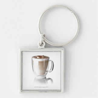 Caffe latte, on white background, cut out Silver-Colored square key ring