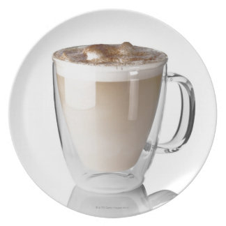 Caffe latte, on white background, cut out plate