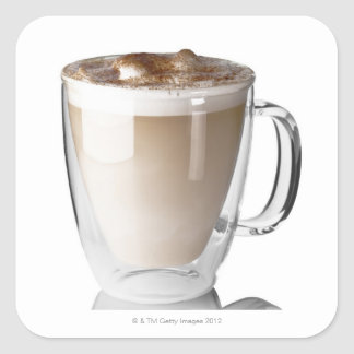 Caffe latte, on white background, cut out square sticker