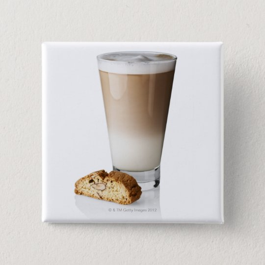 Caffe latte with biscotti, on white background, 15 cm square badge