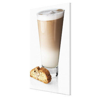 Caffe latte with biscotti, on white background, canvas print