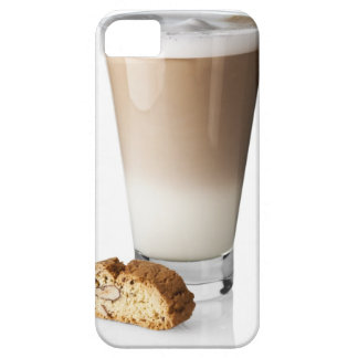 Caffe latte with biscotti, on white background, iPhone 5 covers
