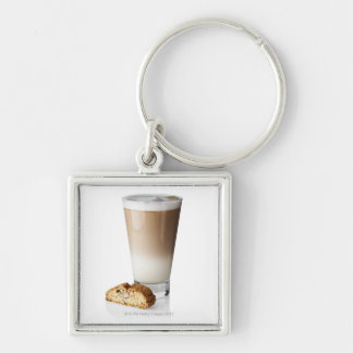 Caffe latte with biscotti, on white background, Silver-Colored square key ring