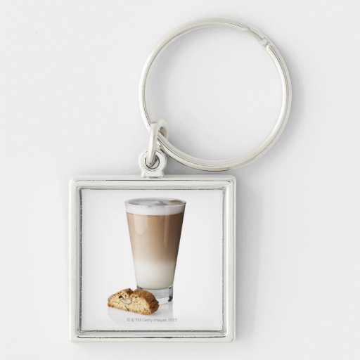 Caffe latte with biscotti, on white background, key chain