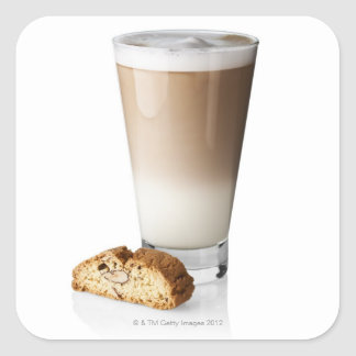 Caffe latte with biscotti, on white background, square sticker