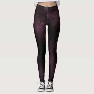 Caffe Noir Purple Glass Frozen Shiny Glam Black Leggings