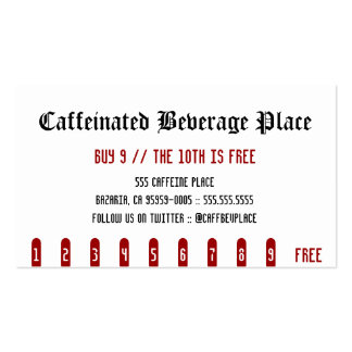 Caffeinated Beverage Place Punch Card Pack Of Standard Business Cards