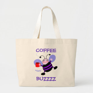 Caffeine Buzz Cute Cartoon Busy Bee Coffee Lover Jumbo Tote Bag