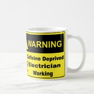 Caffeine Warning Electrician Basic White Mug
