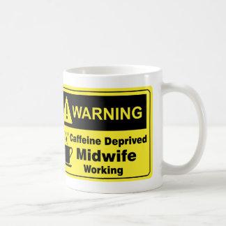 Caffeine Warning Midwife Basic White Mug