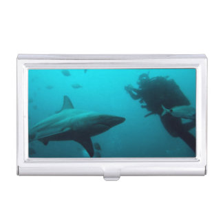 Cage Diving With Blacktip Sharks Business Card Holder
