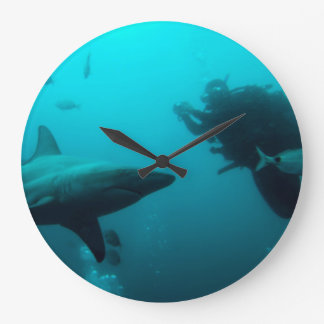 Cage Diving With Blacktip Sharks Large Clock