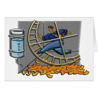 Caged Man Jogging Hamster Wheel Note Card