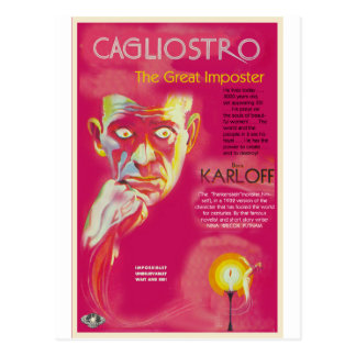 Cagliostro movie poster (Boris Karloff) Postcard