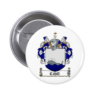 CAHILL FAMILY CREST -  CAHILL COAT OF ARMS 6 CM ROUND BADGE