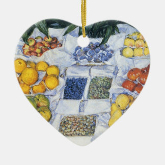 Caillebotte: Fruit Displayed on a Stand Ceramic Heart Decoration