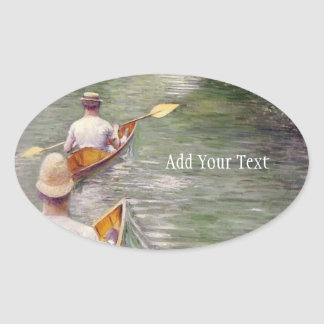 Caillebotte: The Canoes Oval Sticker