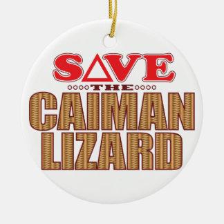 Caiman Lizard Save Christmas Ornament