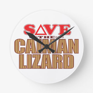 Caiman Lizard Save Round Clock
