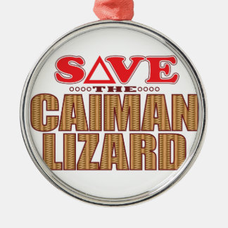 Caiman Lizard Save Silver-Colored Round Decoration
