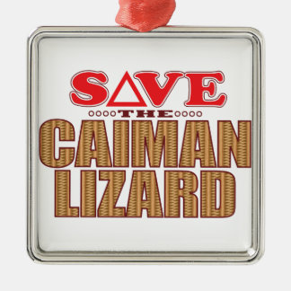 Caiman Lizard Save Silver-Colored Square Decoration