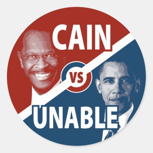 Cain vs Unable Herman Cain 2012 Sticker