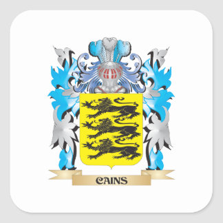Cains Coat of Arms - Family Crest Square Stickers