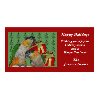 Caique Parrots Animal Christmas Holiday Card Photo Greeting Card