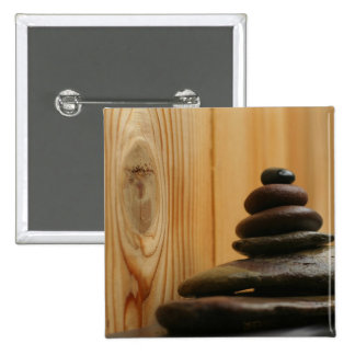 Cairn Meditation Stones and Wood 15 Cm Square Badge