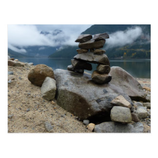 Cairn Stacked Rocks Inukshuk Lake Stones Postcard