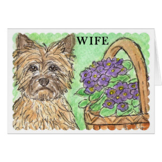 Cairn terrier birthday card WIFE lovely verse f