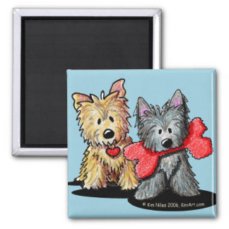 Cairn Terrier Duo Square Magnet