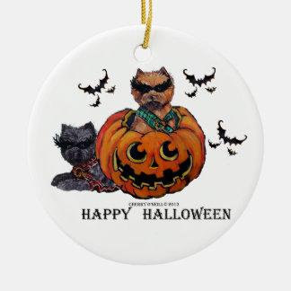 Cairn Terrier Halloween Round Ceramic Decoration