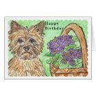Cairn Terrier Happy Birthday card pansies basket