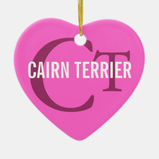 Cairn Terrier Monogram Ceramic Heart Decoration